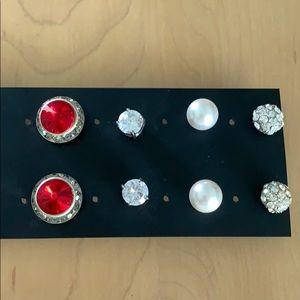 Dimond, pearl, ruby, etc costume earring bundle